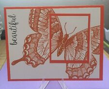 "Card Kit Set Of 4 Stampin Up Swallowtail Butterfly Tangelo Twist ""Beautiful"""