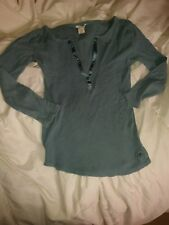 AEO American Eagle Outfitters Size XS 3/4 Sleeve Knit Henley Blue Sweater