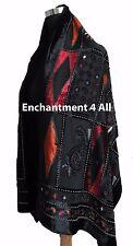 Elegant 100% Silk Burnout Velvet Diamond Art Oblong Scarf Wrap, Black/Red