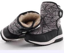 Kids Boys Girls Waterproof Snow Boots Fleece Lined Warm Thermal Wearable Shoes