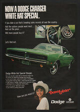 1969 DODGE CHARGER Green Muscle Car - Pretty Woman in White Hat - VINTAGE AD