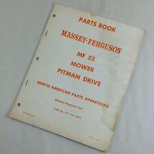 MASSEY FERGUSON MF 52 MOWER BAR SICKLE PITMAN DRIVE PARTS BOOK MANUAL PART LIST