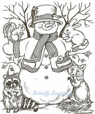 Winter Snowman Animal Friends Wood Mounted Rubber Stamp NORTHWOODS P7744 New