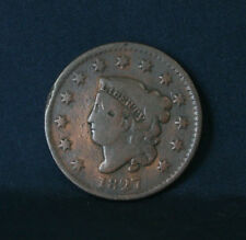 1827 Large Cent Coronet Head Rare Early U.S. one penny