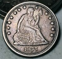 1877 Seated Liberty Quarter 25C FULL MOTTO High Grade Good Silver US Coin CC5189