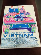 """""""SUPPORT OUR BOYS IN VIETNAM"""" BLACK LIGHT POSTER PRINTS 24""""x 35"""" DEAD STOCK 60's"""