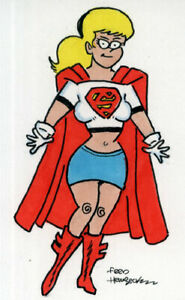 Fred Hembeck Sketch Card: Supergirl, white top, LSH (DC) 1/1
