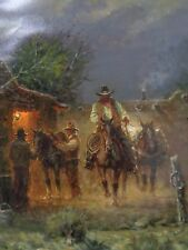 G Harvey Packin Alone Giclee Canvas Dealer Western Certificate Cowboy