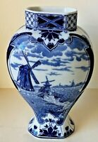 ANTIQUE DELFT PORCELAIN BLUE & WHITE VASE SIGNED