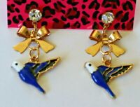 Betsey Johnson Crystal Rhinestone Bird Post Earrings