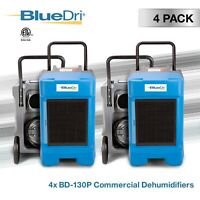 4 Pack BlueDri BD-130P 225 PPD High Performance Commercial Dehumidifier, Blue