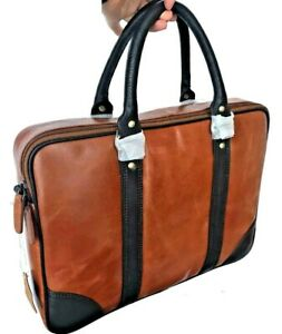 Real Leather Laptop Bag Large Brown and Black with Strap 13 Inch Vintage