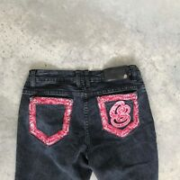 Coogi Womens Faded Black Embroidered Denim SLim Skinny Jeans RA21 SZ 7 / 8