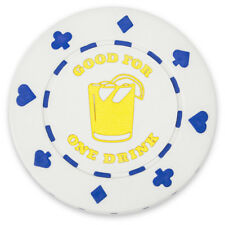 "White ""Good for 1 Drink"" Bar Token Poker Chips, 25-pack"
