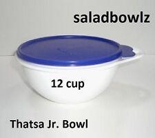 TUPPERWARE New THATSA JUNIOR BOWL JR Prep 12 cup in WHITE w/ BLUE Seal  fREEsHIP