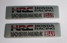 2x HRC Yoshimura Aluminum Plate Decal Exhaust System Sticker Silver/Black