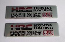 2x HRC Yoshimura Aluminum Plate Decal Exhaust System Sticker Silver/Black