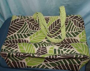 Leaf Geometric Paper Straw Extra Large Tote Bag w inner bag NWOT