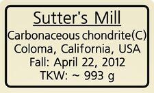 Meteorite label Sutter's Mill