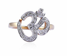 """Pave 0.40 Cts Round Brilliant Cut Diamonds """"OM"""" Ring In Solid Certified 18K Gold"""