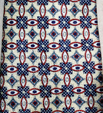 "Sidae Mens Necktie Beige Blue Red Circles Squares Diamond Pattern 57"" x 4"""