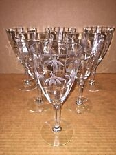 Wine Glass Etched Clear fluted stemmed Claret Goblet (6) Sherry Optic glasses