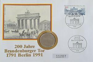 Numisbrief Brandenburger Tor - 200 Jahre DDR 5 Mark Münze 1971 Worbes