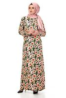 Islamic Women Flower Printed Dress Abaya Tunic Long Sleeve Muslim Clothing