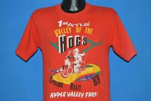 vintage 80s VALLEY OF THE HOGS SPRING RALLY 1989 MOTORCYCLE t-shirt SMALL S