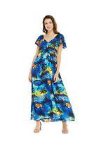 Hawaii Hangover Women Hawaiian Luau Maxi Short Sleeve Rahee Dress in Sunset Blue