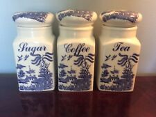 Very Nice Set of Three Blue Willow Canisters - Made in England