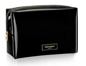 YSL YVES SAINT LAURENT Beaute patent black squared makeup bag cosmetic pouch New