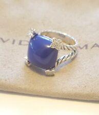 David Yurman Sterling Silver Cushion On Point 15mm Lapis Lazuli & Diamonds Ring