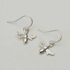 Sterling Silver Bumble Bee Drop Earrings - Honey Bee Dangle Hook - Ladies - UK