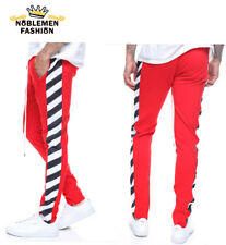 MEN HIPSTER TECHNO TRACK BAR STRIPE TRACK PANTS
