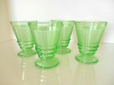 """4 GREEN ENGLISH THREADING DEPRESSION 4 1/2"""" FOOTED TUMBLERS 1920s Indiana Glass"""