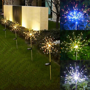 1/2X 120LED Solar Powered Firework Starburst Stake Fairy Lights Garden Path Lamp