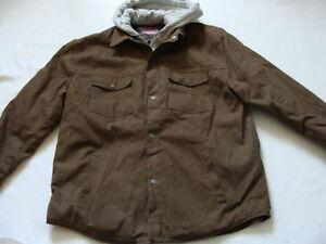NWT Men's CRAFTSMAN Duck Bomber Jacket Size XXL Brown Work Coat Hood Cotton 2XL