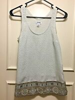 OLD NAVY TANK BLOUSE LIGHT BLUE WITH TAN CROSSES AND SW TRIM  WOMENS SIZE XS