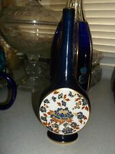 Carlton ware pencil neck vase cobalt blue gold