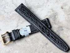 Contrast stitch & padded Genuine Shark 18mm vintage watch strap Water-Resistant