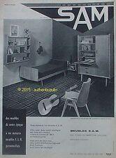 PUBLICITE MEUBLES SAM CHAMBRE ARMOIRE LIT GUITARE DE 1960 FRENCH AD PUB VINTAGE