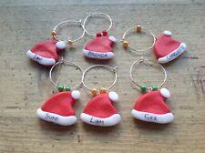 6 Wine Charms Santa Hats Personalised Christmas Xmas Handmade Table Names Cute