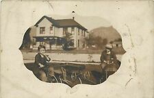 1908 RPPC Children Pedal Car Wagon Tricycle House Monrovia CA Masked Vignette