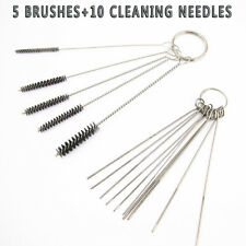 NEW 10Cleaning Needles+5Brushes Carburetor Carbon Dirt Jet Remove Tool For Honda