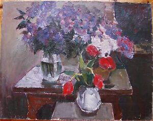 Russian Ukrainian Soviet Oil Painting impressionism Still Life tulip lilac