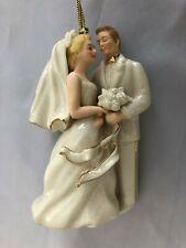 "Lenox White 4"" Bride & Groom 2004 Figurine Ornament"