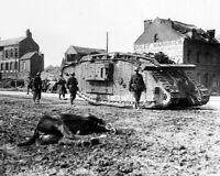 British Mark V Tank and Soldiers Peronne, France 8x10 WWI WW1 Photo 24