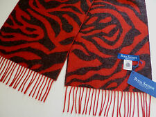 Royal Speyside ladies wool scarf red charcoal grey animal pattern womens NEW