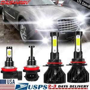 4-Side LED Headlight Hi/Lo Beam+Fog Light 4XBulbs Kit For Chrysler 300 2011-2014